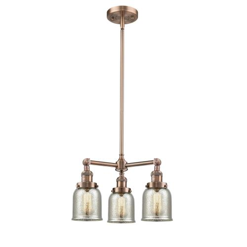 Innovations Lighting 207-G5 Small Bell-3 Light Chandelier in Industrial Style-19 Inches Wide by 11 Inches High
