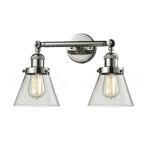Innovations Lighting 208-G6 Small Cone-2 Light Bath Vanity in Industrial Style-16 Inches Wide by 10 Inches High