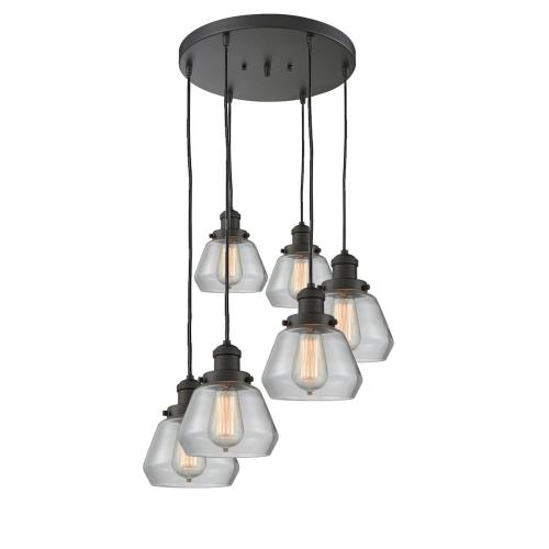Innovations Lighting 212/6-Fu Fulton-Six Light Adjustable Cord Pan Chandelier-14 Inches Wide
