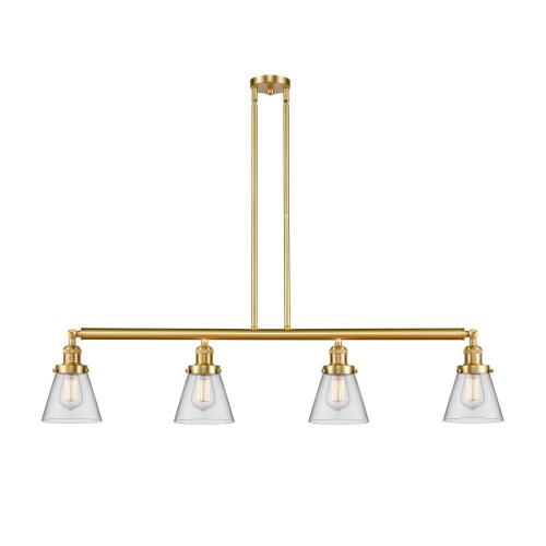 Innovations Lighting 214-G6 Small Cone-4 Light Island in Industrial Style-50.88 Inches Wide by 10 Inches High