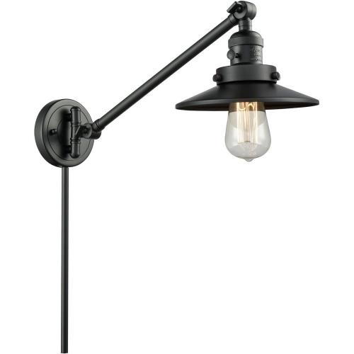 Innovations Lighting 237-M1-M7 Railroad-1 Light Swing Arm Wall Mount in Traditional Style-8 Inches Wide by 25 Inches High