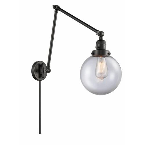 Innovations Lighting 238-G20-8 Large Beacon-1 Light Swing Arm Wall Mount in Industrial Style-8 Inches Wide by 30 Inches High