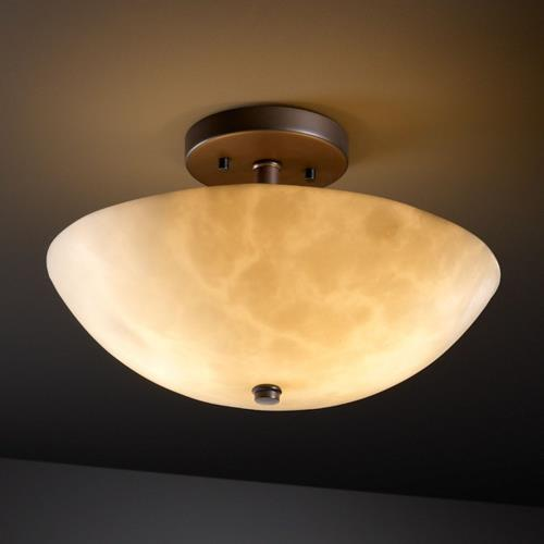 Justice Design CLD-9690-35 Clouds - 14 Inch Round Semi-Flush Mount with Round Bowl Cloud Resin Shades