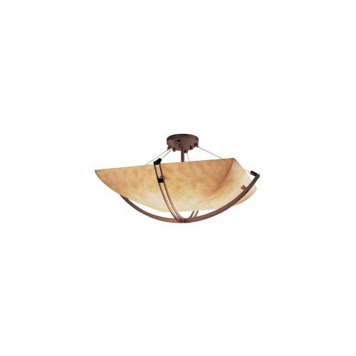 Justice Design CLD-9717-25 Clouds Crossbar - 55 Inch Bowl Semi-Flush Mount with Square Bowl Cloud Resin Shades