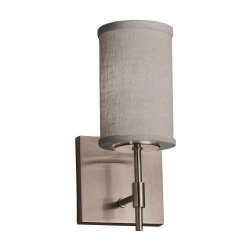 Justice Design FAB-8411-10-GRAY Textile Union - 1 Light Short Wall Sconce with Cylinder Flat Rim Gray Woven Fabric Shade