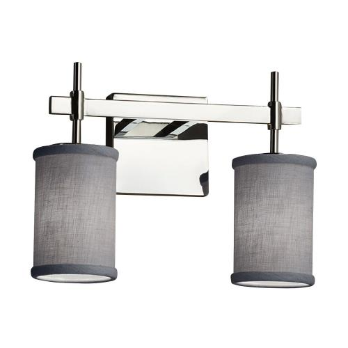 Justice Design FAB-8412-10-GRAY Textile Union - 2 Light Bath Bar with Cylinder Flat Rim Gray Woven Fabric Shade