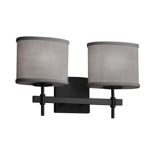Justice Design FAB-8412-30-GRAY Textile Union - 2 Light Bath Bar with Oval Gray Woven Fabric Shade