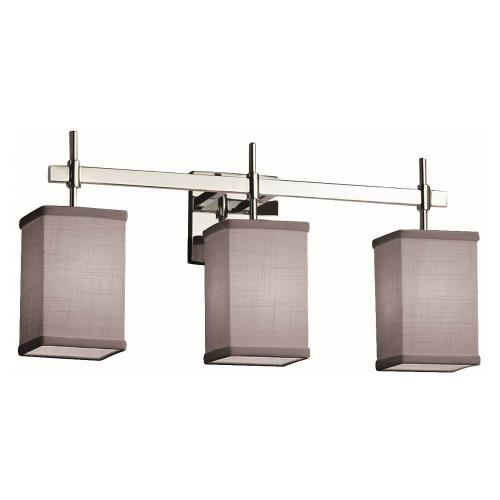 Justice Design FAB-8413-15-GRAY Textile Union - 3 Light Bath Bar with Square Flat Rim Gray Woven Fabric Shade