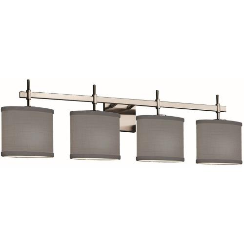 Justice Design FAB-8414-30-GRAY Textile Union - 4 Light Bath Bar with Oval Gray Woven Fabric Shade
