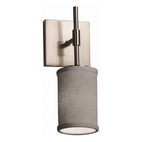 Justice Design FAB-8415-10-GRAY Textile Union - 1 Light Tall Wall Sconce with Cylinder Flat Rim Gray Woven Fabric Shade
