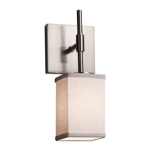 Justice Design FAB-8415-15-WHTE Textile Union - 1 Light Tall Wall Sconce with Square Flat Rim White Woven Fabric Shade