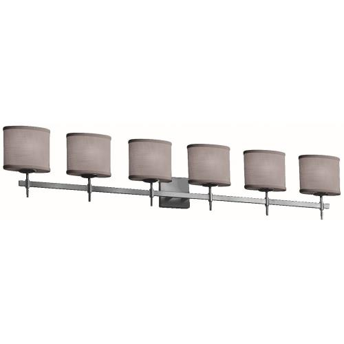 Justice Design FAB-8416-30-GRAY Textile Union - 6 Light Bath Bar with Oval Gray Woven Fabric Shade