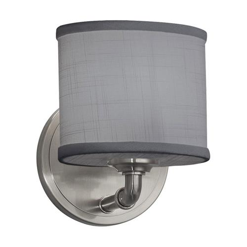 Justice Design FAB-8467-30-GRAY Textile Bronx - 1 Light ADA Wall Sconce with Oval Gray Woven Fabric Shade