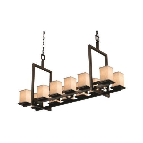 Justice Design FAB-8620-15-CREM Textile Montana - 12 Light Up and 5 Downlight Short Bridge Chandelier with Square Flat Rim Cream Woven Fabric Shade