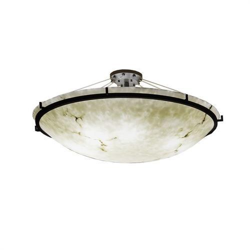 Justice Design FAL-9687-35 LumenAria Ring - 8 Light Semi-Flush Mount with Round Bowl Faux Alabaster Shade
