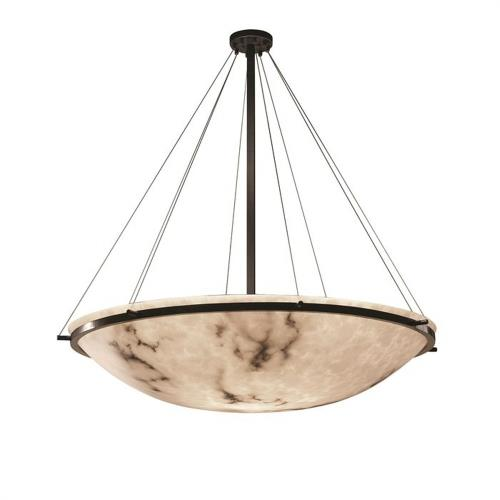 Justice Design FAL-9697-35 LumenAria Ring - 8 Light Pendant with Round Bowl Faux Alabaster Shade