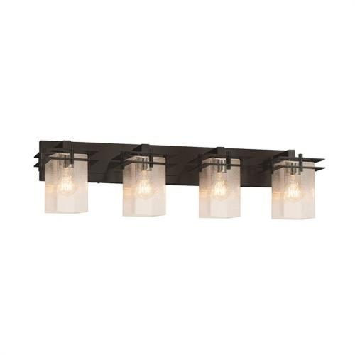 Justice Design FSN-8174-15-SEED Fusion Metropolis - 4 Light Bath Bar with Square Cylinder Seeded Glass Shade