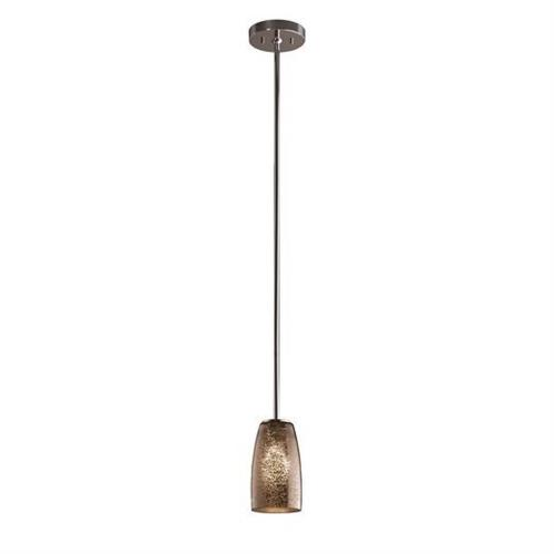 Justice Design FSN-8816-28-MROR Fusion Small - 1 Light Pendant with Tall Tapered Cylinder Mercury Glass Shade