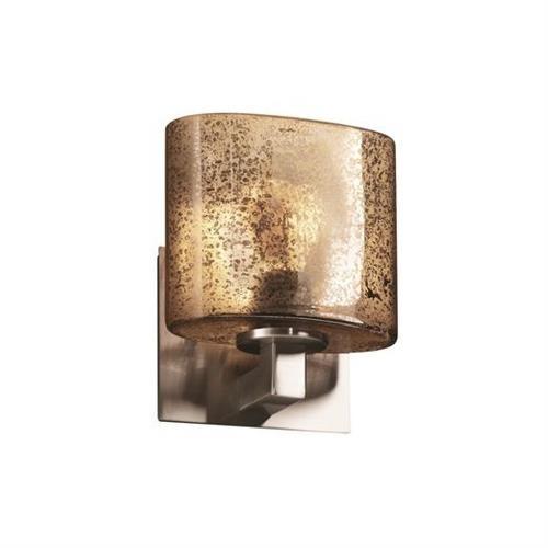 Justice Design FSN-8931-30-MROR Fusion Modular - 1 Light ADA Bracket Wall Sconce with Oval Mercury Glass Shade