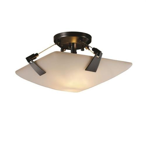 Justice Design FSN-9630-25-OPAL Fusion Tapered Clips - 2 Light Semi-Flush Mount with Square Bowl Opal Glass Shade