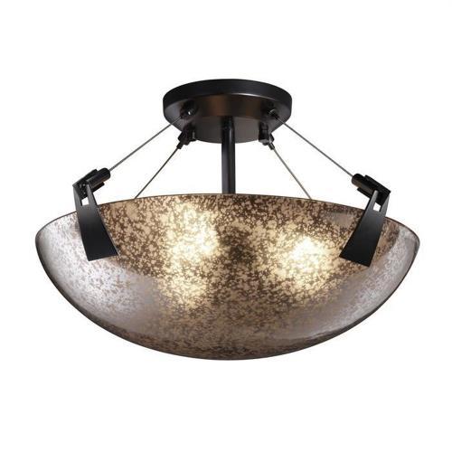 Justice Design FSN-9631-35-MROR Fusion Tapered Clips - 3 Light Semi-Flush Mount with Round Bowl Mercury Glass Shade