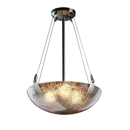 Justice Design FSN-9641-35-MROR Fusion Tapered Clips - 3 Light Pendant with Round Bowl Mercury Glass Shade