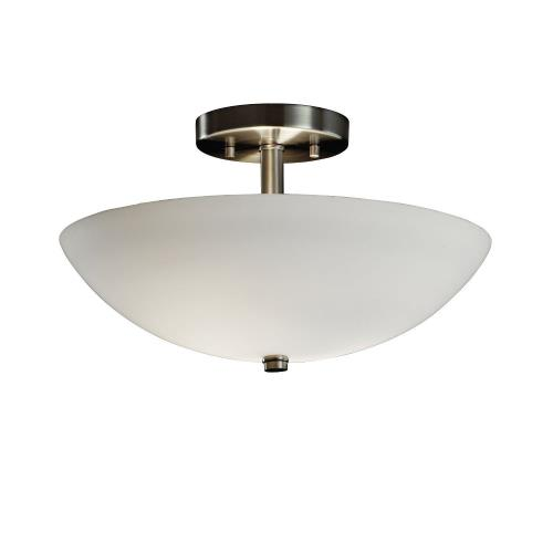 Justice Design FSN-9690-35-OPAL Fusion Ring - 2 Light Semi-Flush Mount with Round Bowl Opal Glass Shade