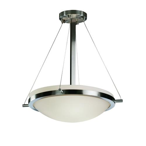 Justice Design FSN-9691-35-OPAL Fusion Ring - 3 Light Pendant with Round Bowl Opal Glass Shade
