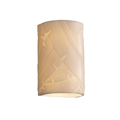 Justice Design PNA-1265W-BANL Porcelina - 12.5 Inch 13W 1 LED Large Cylinder Open Top and Bottom Outdoor Wall Sconce with Banana Leaf Faux Porcelain Shade