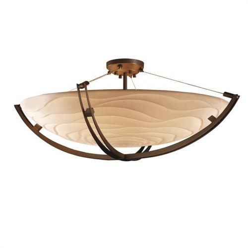 Justice Design PNA-9717-35-WAVE Porcelina Crossbar - 8 Light Semi-Flush Mount Round Bowl with Waves Faux Porcelain Shade