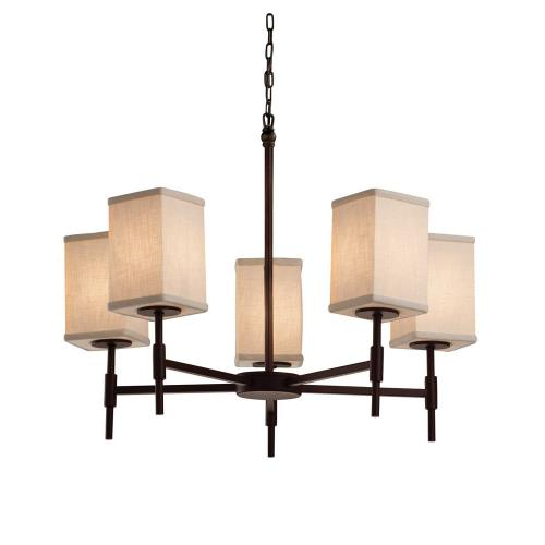 Justice Design FAB-8410-15-CREM Textile Union - 5 Light Chandelier with Square Flat Rim Cream Woven Fabric Shade