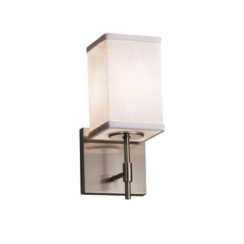 Justice Design FAB-8411-15-WHTE Textile Union - 1 Light Short Wall Sconce with Square Flat Rim White Woven Fabric Shade