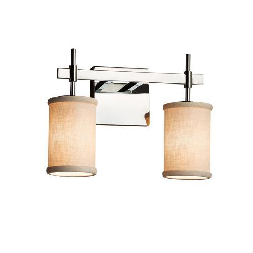 Justice Design FAB-8412-10-CREM Textile Union - 2 Light Bath Bar with Cylinder Flat Rim Cream Woven Fabric Shade