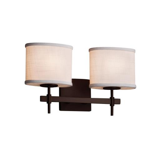 Justice Design FAB-8412-30-WHTE Textile Union - 2 Light Bath Bar with Oval White Woven Fabric Shade