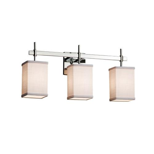 Justice Design FAB-8413-15-WHTE Textile Union - 3 Light Bath Bar with Square Flat Rim White Woven Fabric Shade