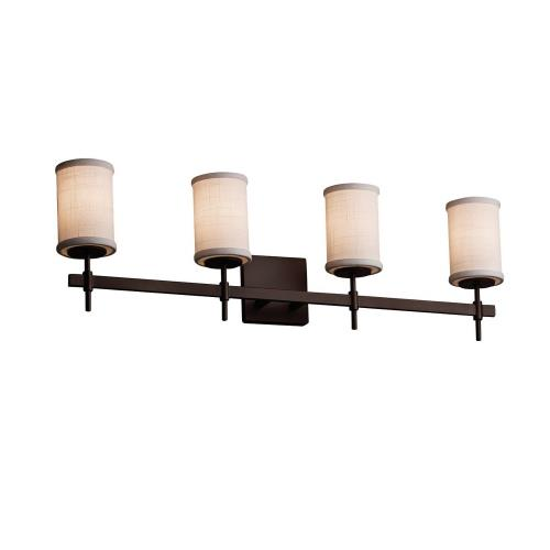 Justice Design FAB-8414-10-WHTE Textile Union - 4 Light Bath Bar with Cylinder Flat Rim White Woven Fabric Shade