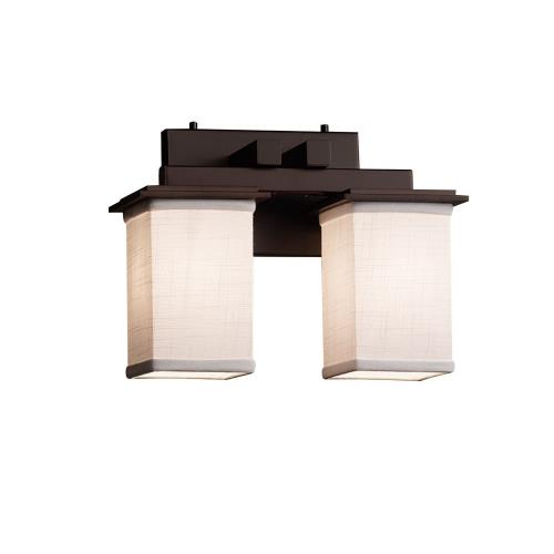 Justice Design FAB-8672-15-WHTE Textile Montana - 2 Light Bath Bar with Square Flat Rim White Woven Fabric Shade