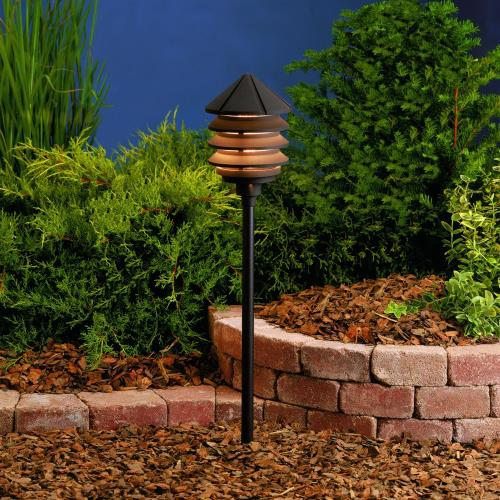 Kichler Lighting 15205 Six Groove - Line Voltage 1 light Path Lamp - 9.5 inches tall by 6 inches wide