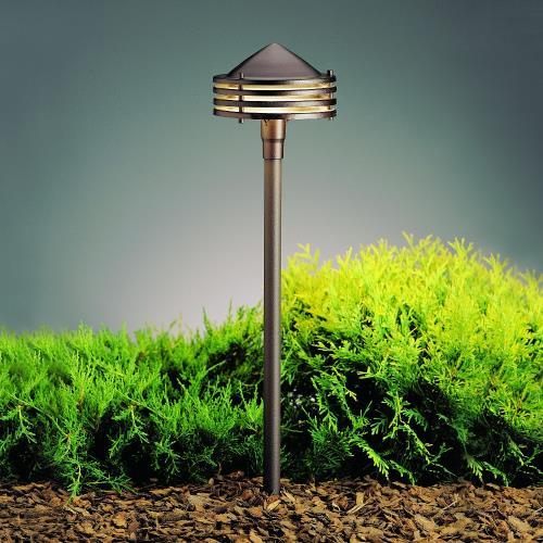 Kichler Lighting 15318AZT Six Groove - Low Voltage One Light Path Lamp