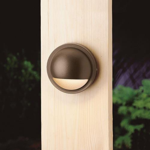 Kichler Lighting 15764 CBR - 0.86W 1 LED Half Moon Deck Light - with Utilitarian inspirations - 2 inches tall by 4 inches wide