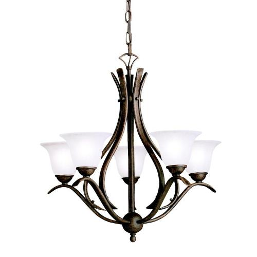 Kichler Lighting 2020 Dover - 5 light Chandelier with White Glass Shades - with Transitional inspirations - 23 inches tall by 24 inches wide