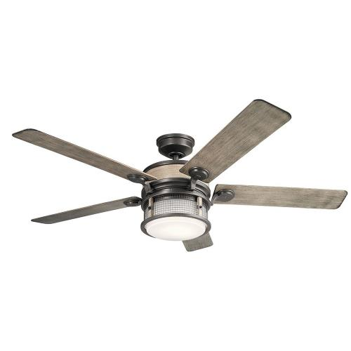 Kichler Lighting 310170 Ahrendale - Ceiling Fan with Light Kit - with Utilitarian inspirations - 16.5 inches tall by 60 inches wide
