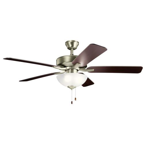 Kichler Lighting 330017 Basics Pro Select - Ceiling Fan with Light Kit - with Traditional inspirations - 17.5 inches tall by 52 inches wide