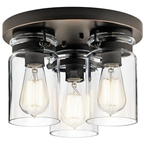 Kichler Lighting 42891 Brinley - 3 light Flush Mount - with Vintage Industrial inspirations - 8 inches tall by 11.75 inches wide