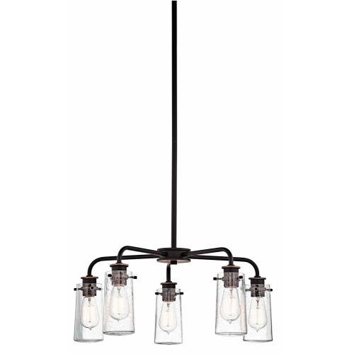 Kichler Lighting 43058 Braelyn - 5 Light Medium Chandelier - with Vintage Industrial inspirations - 11.25 inches tall by 25 inches wide