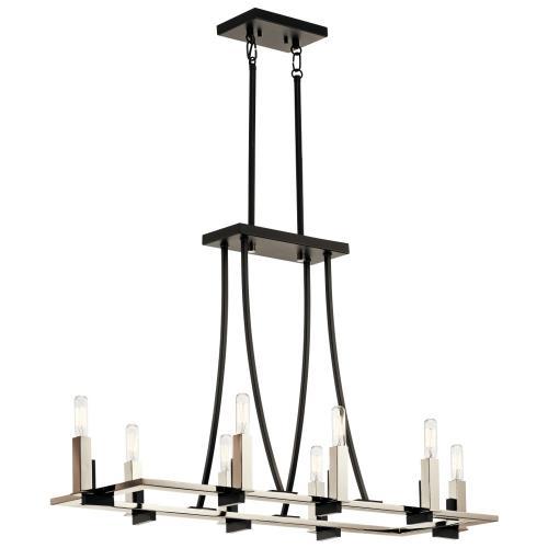 Kichler Lighting 43292BK Bensimone - Eight Light Linear Chandelier