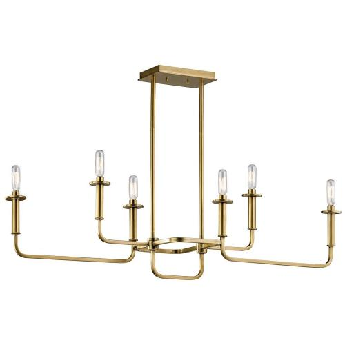 Kichler Lighting 43362 Alden - 6 Light Linear Chandelier - with Mid-Century/Retro inspirations - 17.5 inches tall by 11 inches wide