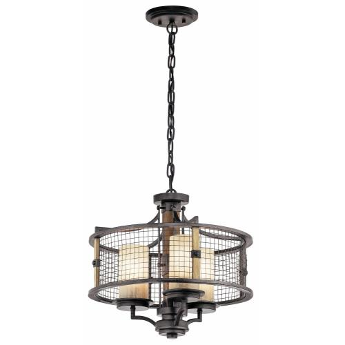 Kichler Lighting 43581AVI Ahrendale - 3 light Chandelier - with Lodge/Country/Rustic inspirations - 16.75 inches tall by 17.75 inches wide