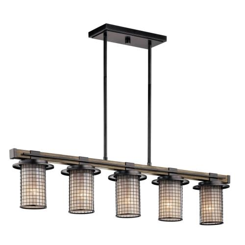 Kichler Lighting 43590AVI Ahrendale - 5 light Linear Chandelier - with Lodge/Country/Rustic inspirations - 8.75 inches tall by 6 inches wide