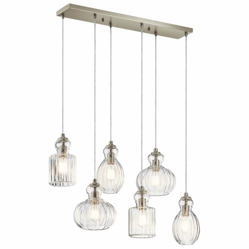 Kichler Lighting 43950NI Riviera - Six Light Double Linear Chandelier